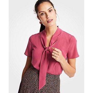 Ann Taylor mixed tie neck tee top raspberry XL